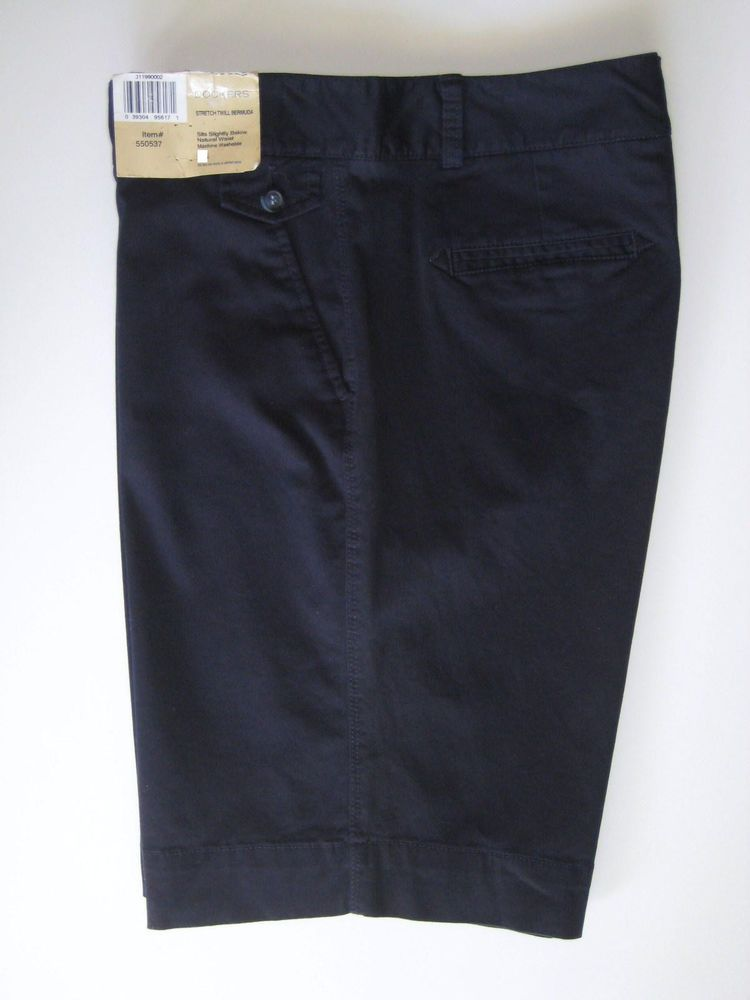 Dockers Women's Stretch Twill Bermuda Walking Shorts 10 Navy Blue ...