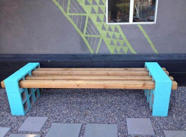 bank f r den garten selbst bauen aus holzbalken und stein. Black Bedroom Furniture Sets. Home Design Ideas