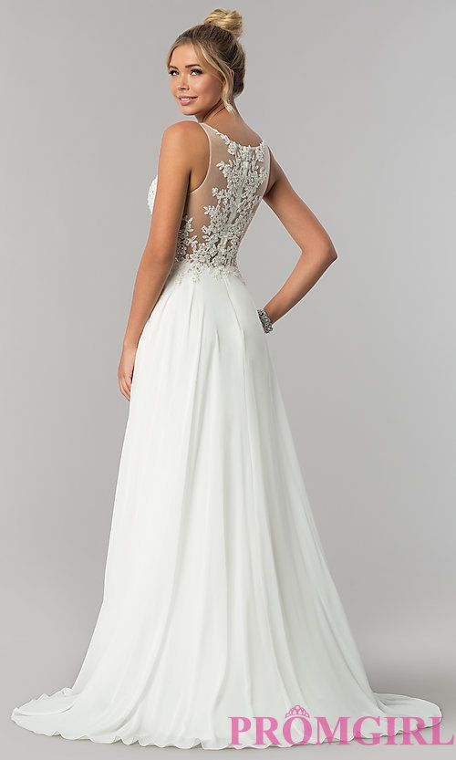 Image of faux-wrap long v-neck prom dress with lace bodice