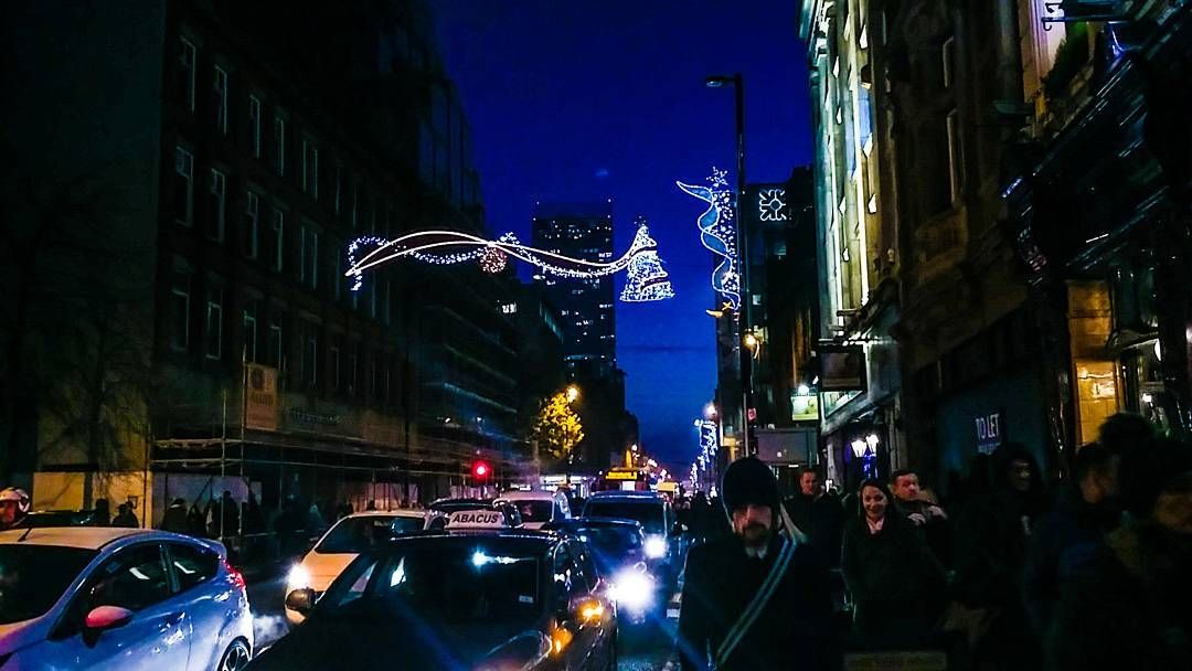 Manchester on a busy December night