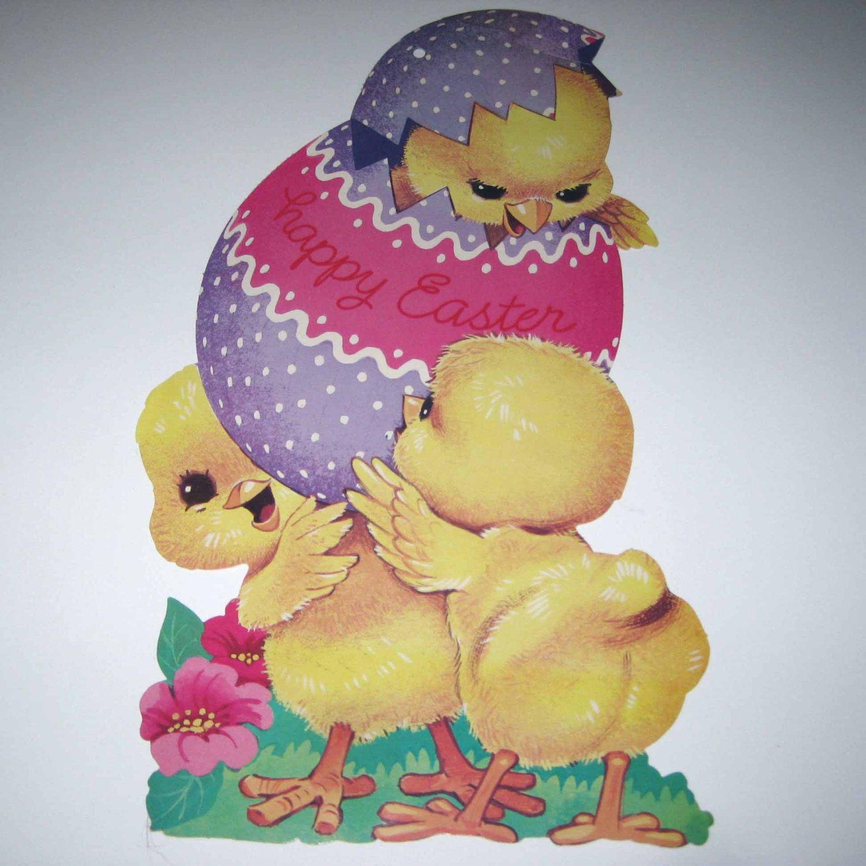 Vintage Die Cut Cardboard Easter Decoration