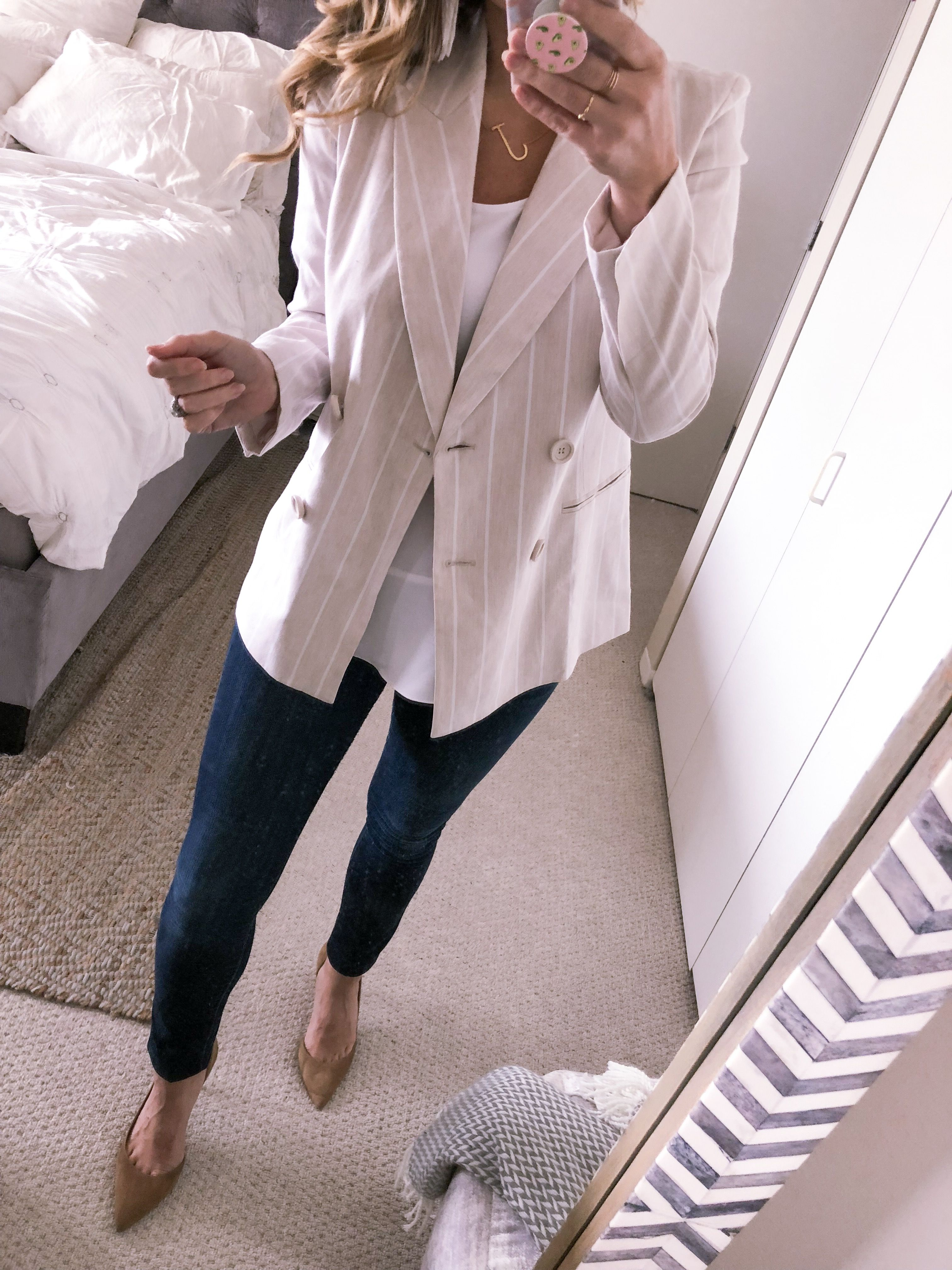 Striped Beige Linen Blazer With Skinny Jeans For The Office