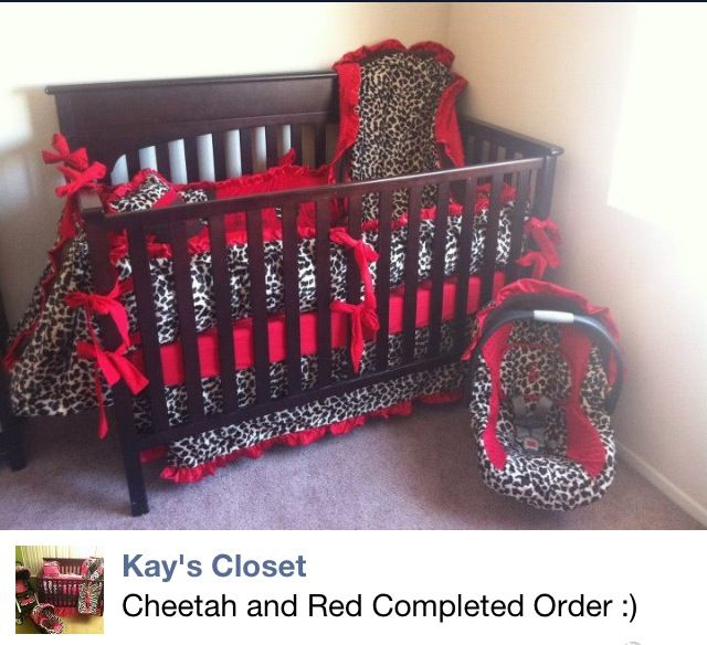 Red And Cheetah Print Baby Girl Nursery Room Baby Girl Room