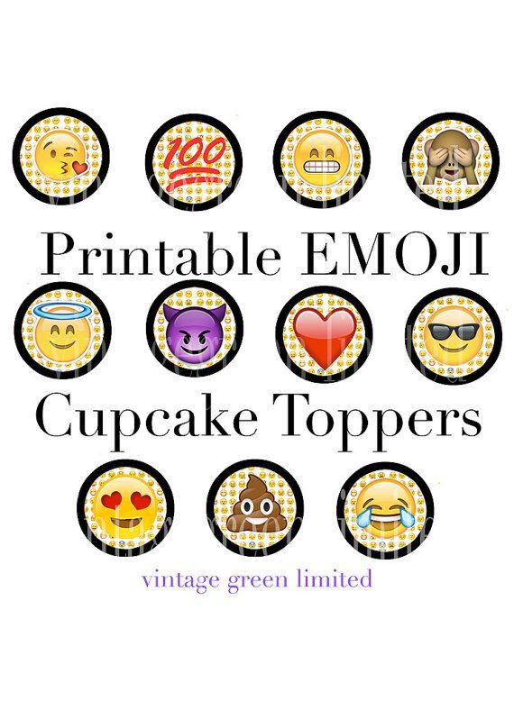 EMOJI Printable Cup Cake Toppers INSTANT DOWNLOAD Teen Birthday Party 100 Poop Monkey Hysteri