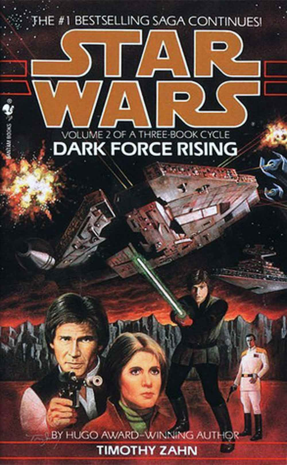 Timothy Zahn  Dark Force Rising  The Empire isn't quite dead yet.  Admiral Thrawn has located several Imperial warships thought lost long ago and is attempting to reassert power.