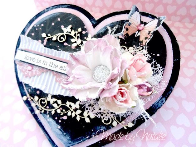 Valentine heart handmade card with foamiran flower