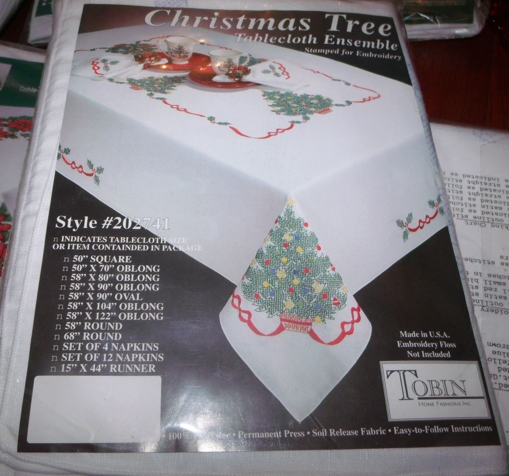 Tobin Stamped Cross Stitch Embroidery Tablecloth CHRISTMAS TREE 58