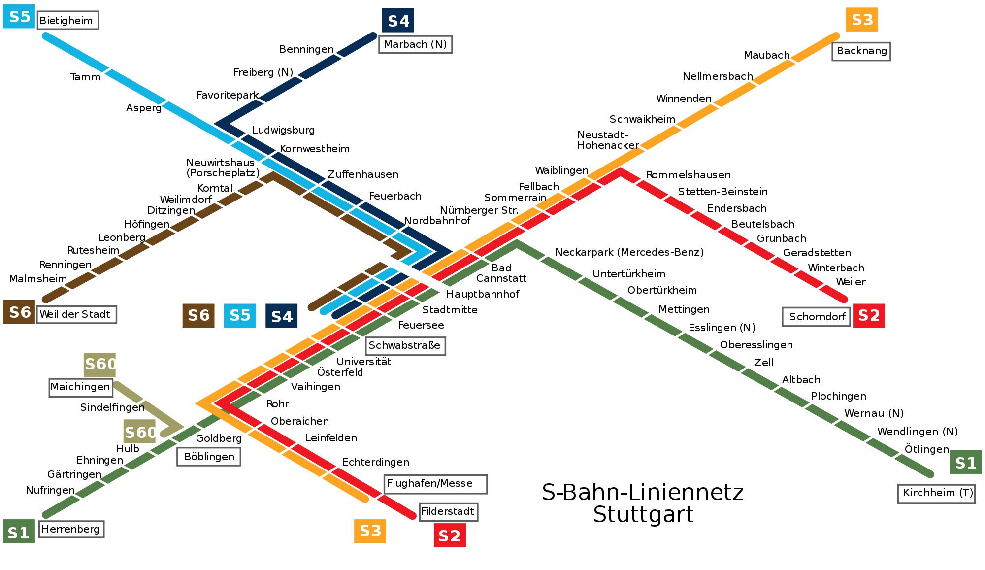 UBahn von Stuttgart Subway map and Underground map