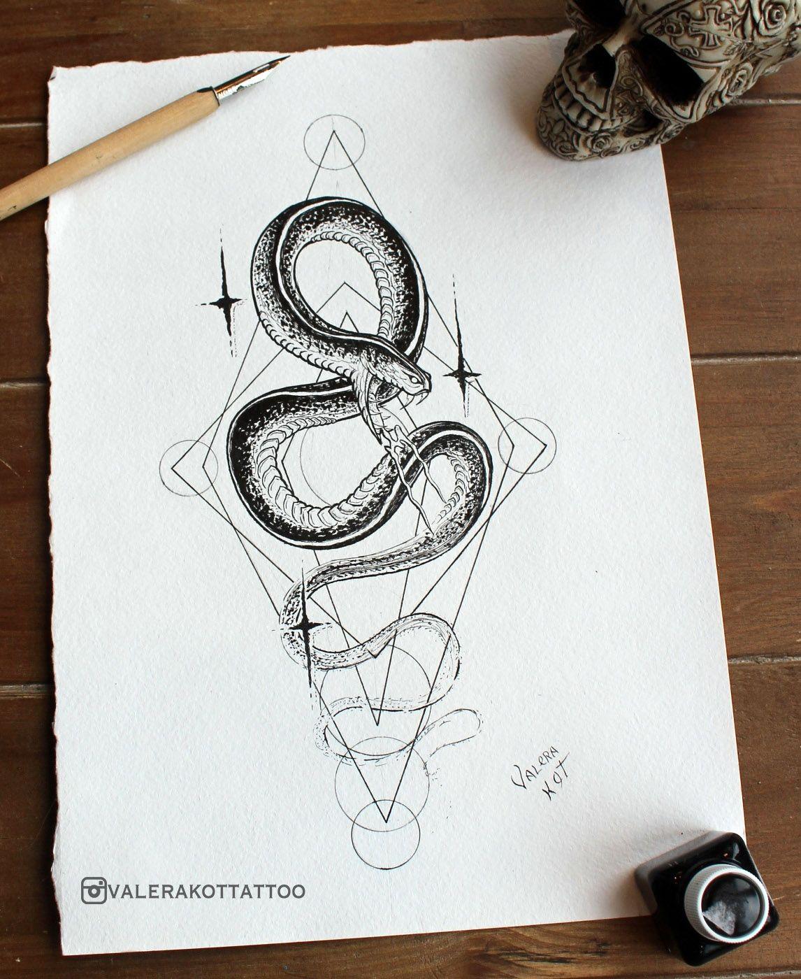 Valera Kot Drawing Ink Snake Geometric Art Tattoo Tattoo