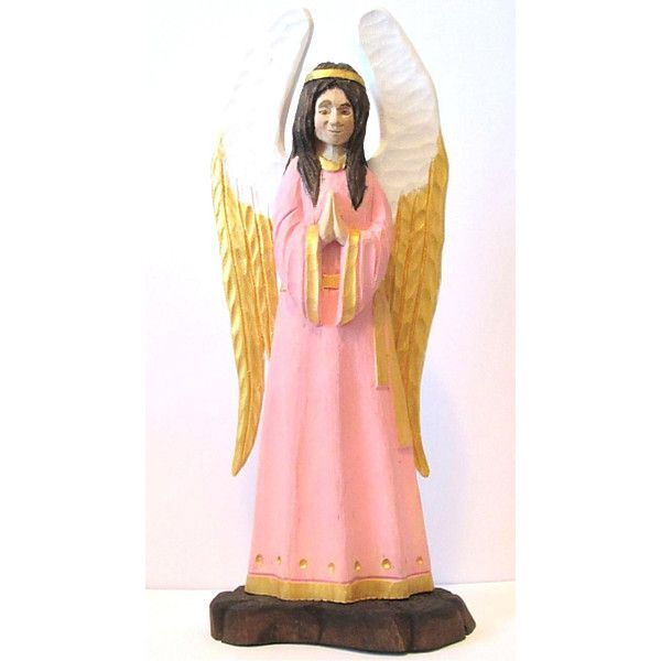 Wooden Angel Wood Carved Angel Angel Statue Angel Figurine ($90) via Polyvore featuring home and home decor