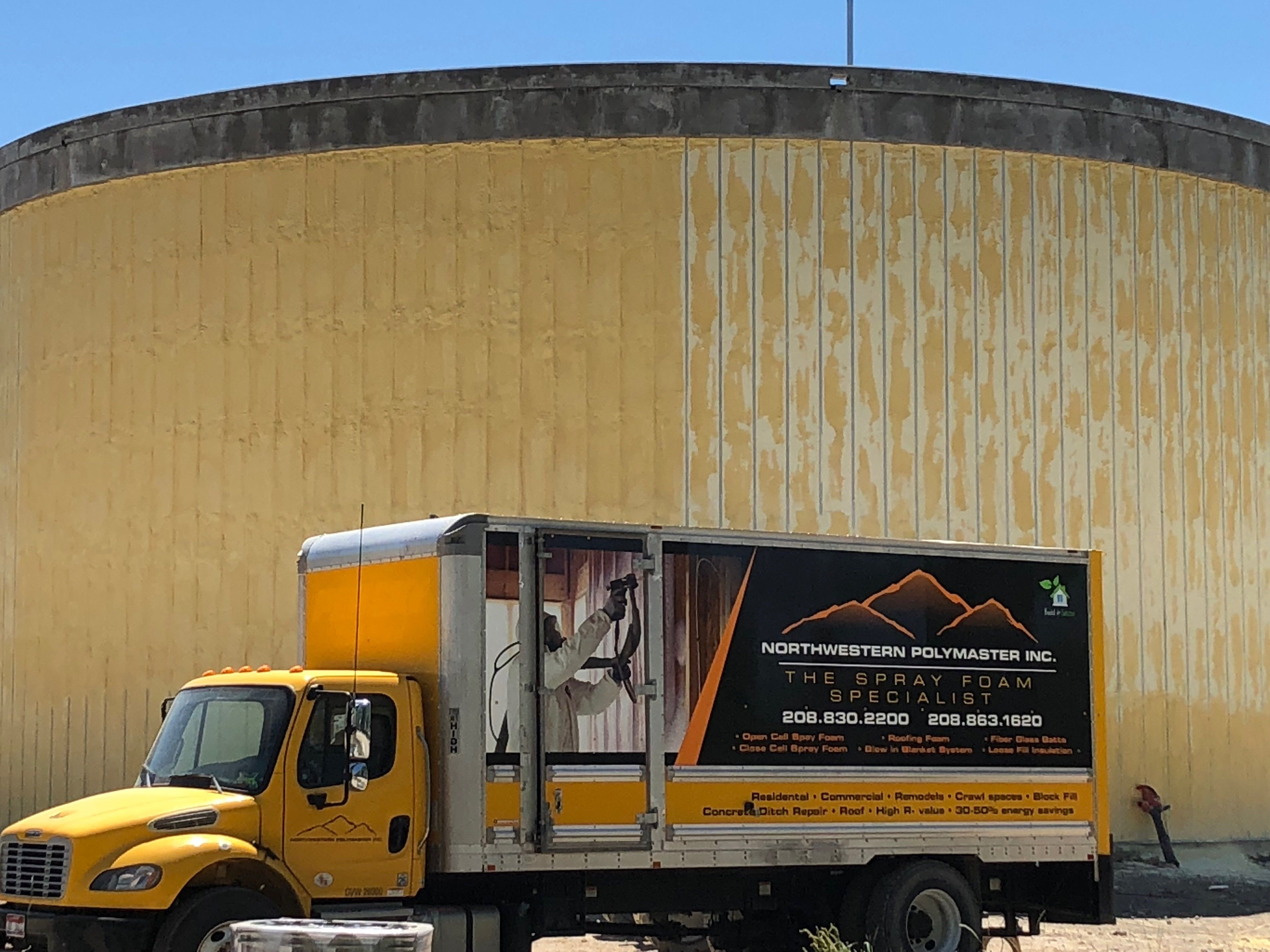 Spray Foam Insulation applied to digesters at a Waste Water