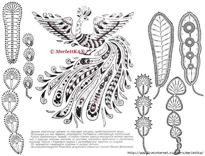 Firebird in Irish lace | MOTIVOS CROCHET | Pinterest | Croché ...