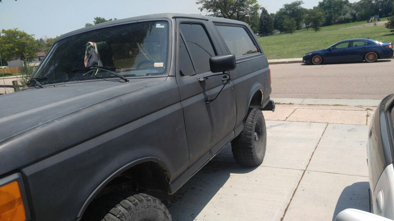 I Ended Up Spray Painting It Matte Black For A While It Only Took Me 11 Cans Lol Ford Bronco Car Door Ford