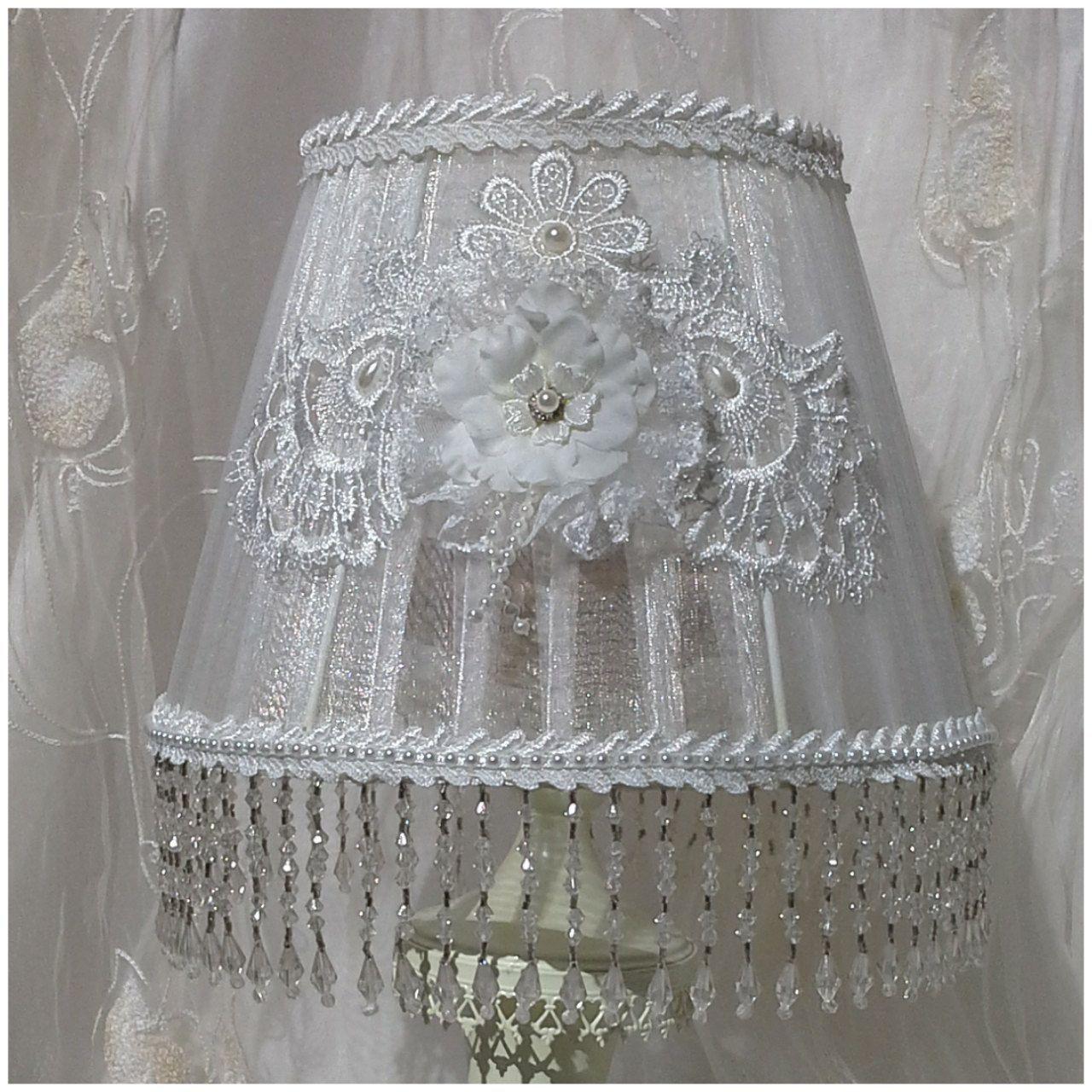 Shabby chic lampshade, organza lampshade, white lampshade ...