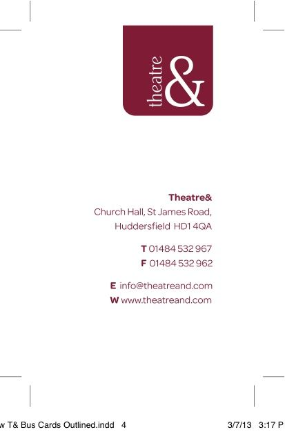 Business cards we created for Theatre& http://www.theatreand.com
