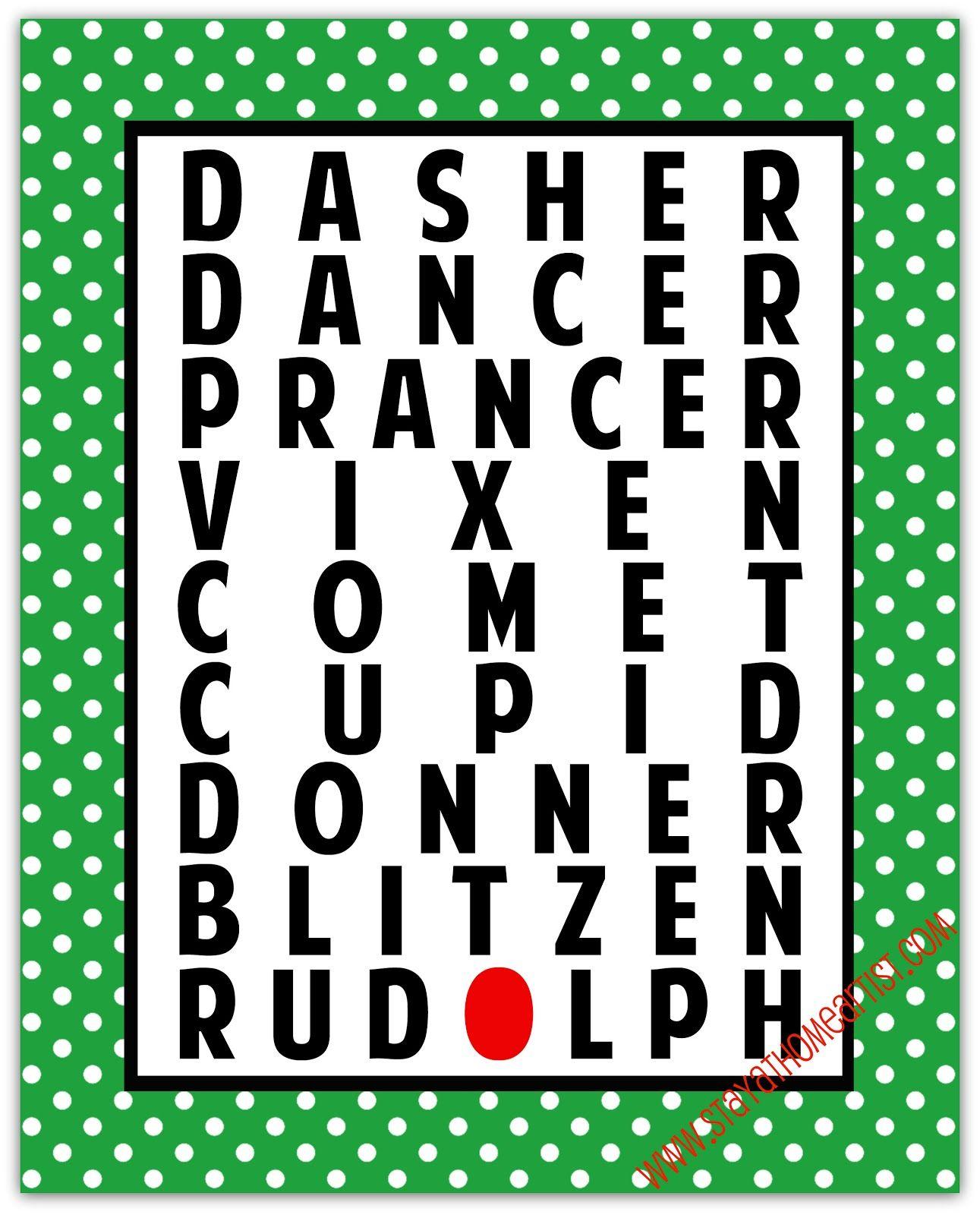 Reindeer Names Christmas Printable