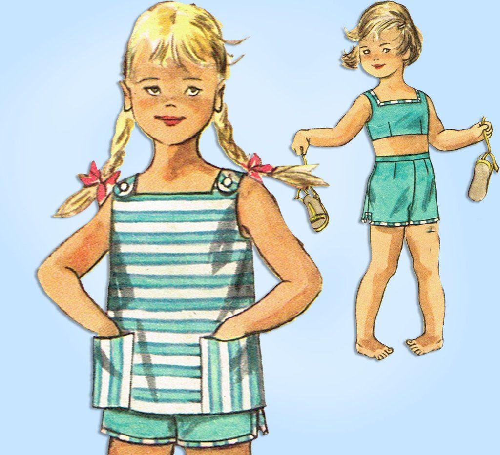 1950s Vintage Simplicity Sewing Pattern 2095 Toddler Girls
