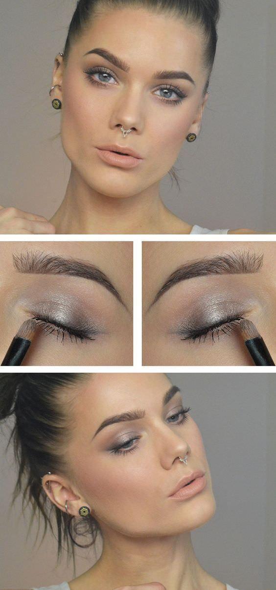 Maquillaje de día con un diseño muy natural que usa sombras grises muy lindas.