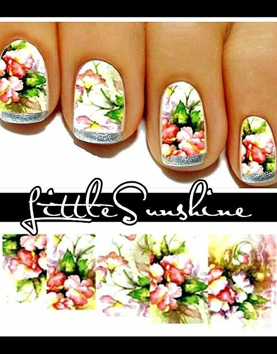Water Transfer Flowers Design FLOWERS Nail Art Sticker Decal ...