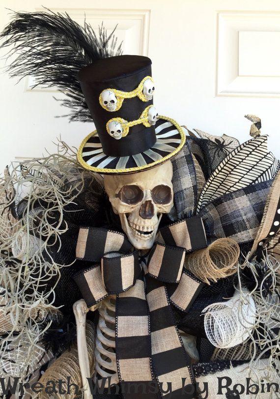 On XL Halloween Skeleton Deco Mesh Wreath by WreathWhimsybyRobin