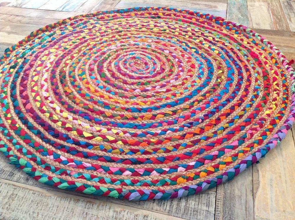 Lovely Fair Trade Hand Loom Braided Cotton Jute Multi Colour Round Rag Rugs R4 Rag Rug Braided Rag Rugs Round Braided Rug