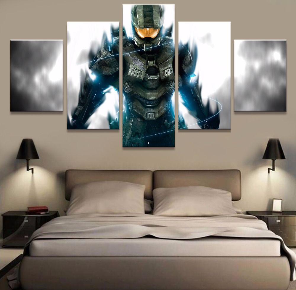 5 Piece Canvas Printed Halo Home Decor For Living Room Wall Art Painting Pictures Modern Decoration Game Uniq Wall Art Living Room Living Room Decor Home Decor