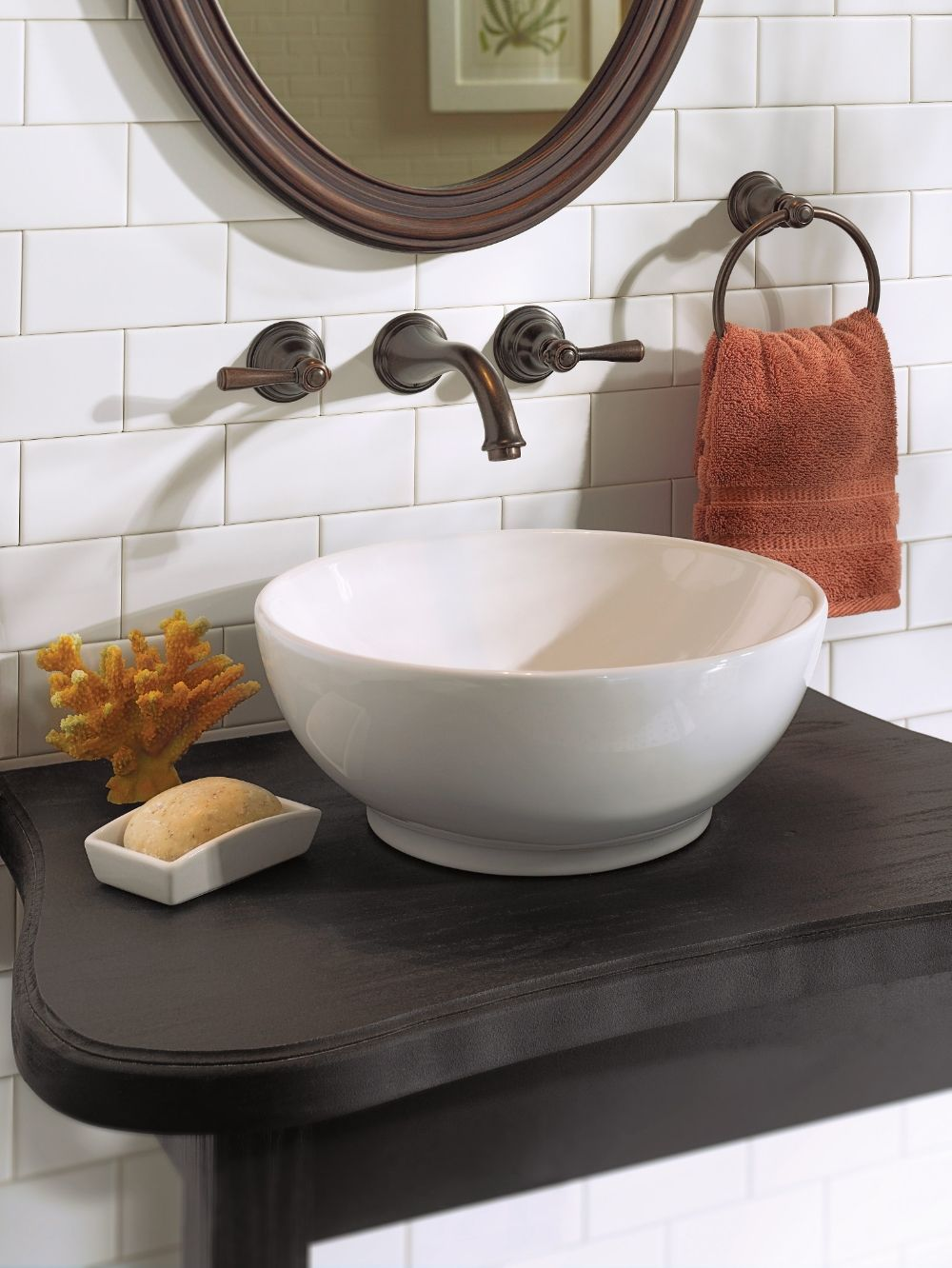 Kingsley Oil rubbed bronze two-handle low arc wall mount bathroom ...
