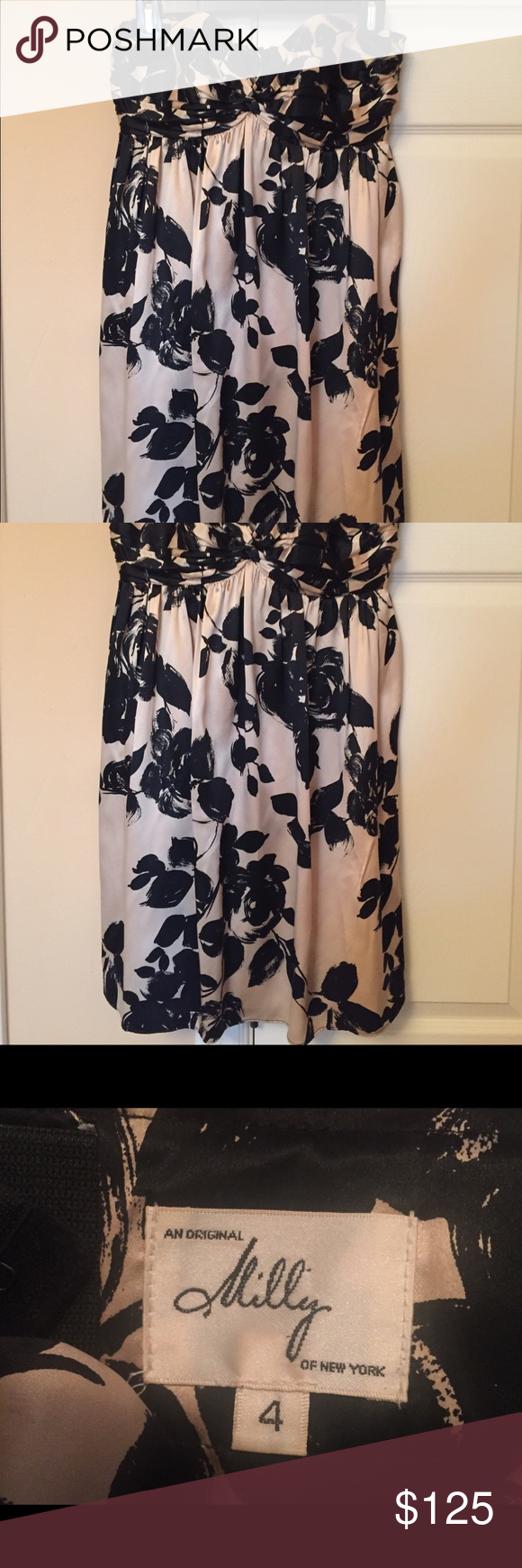 Black and white silk dress Strapless cocktail dress that is simply but makes jaws drop. My two favorite things about this dress is the ultra supportive built in bra and the elegant way it moves when you dance! Milly Dresses Strapless
