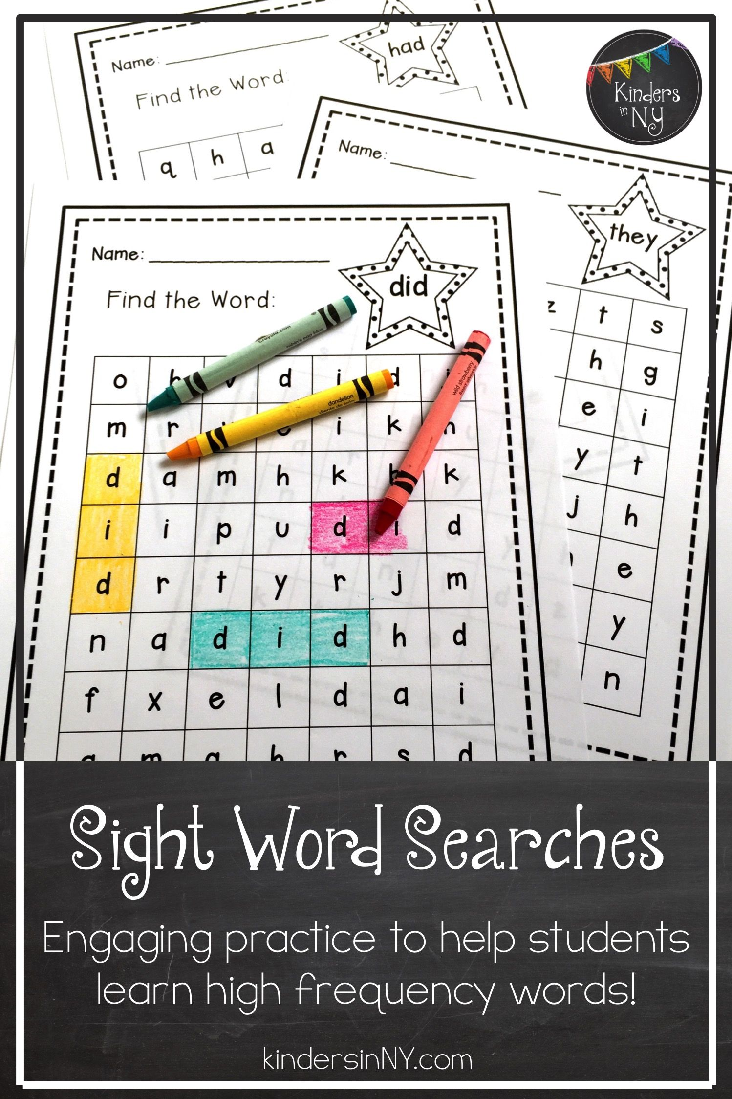 Sight Words More Word Searches Set 2 25 High Frequency