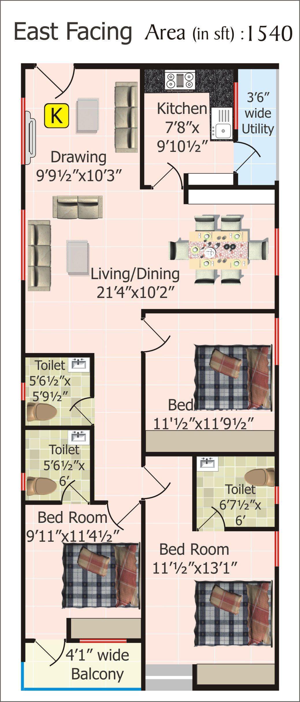 Floor Plans For 20 X 60 House Plan Pinterest ...