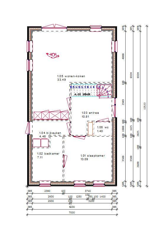 slaapkamer en badkamer op de begane grond in een kleinere afmeting
