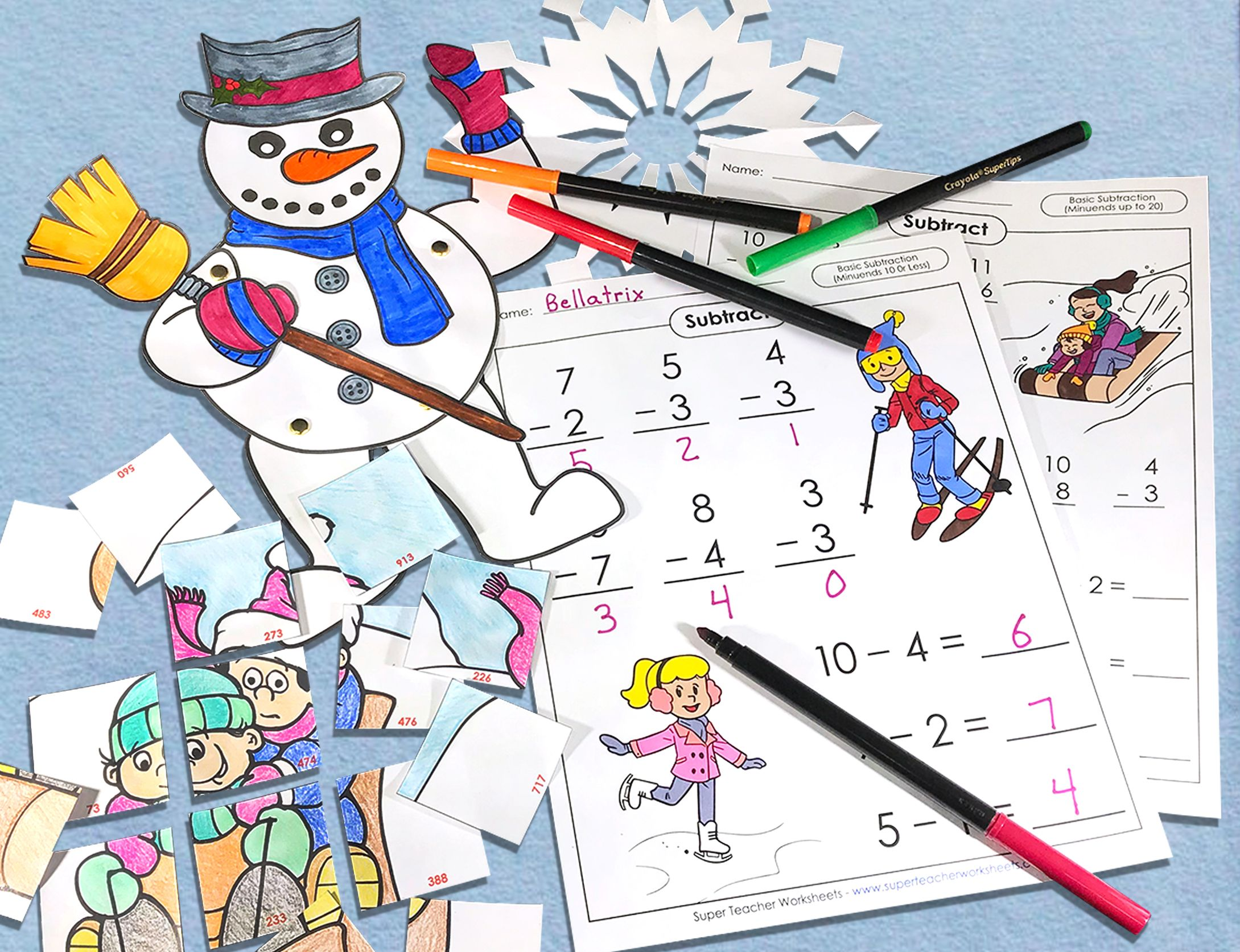 Winter Worksheets For Kids Winter Themed Math Super Teacher Worksheets Winter [ 1673 x 2179 Pixel ]