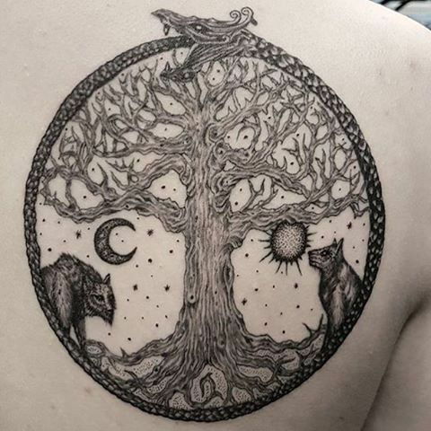 741332f72 It's Yggdrasil and Sköll and Hati and Jörmungandr | Tattoos And ...