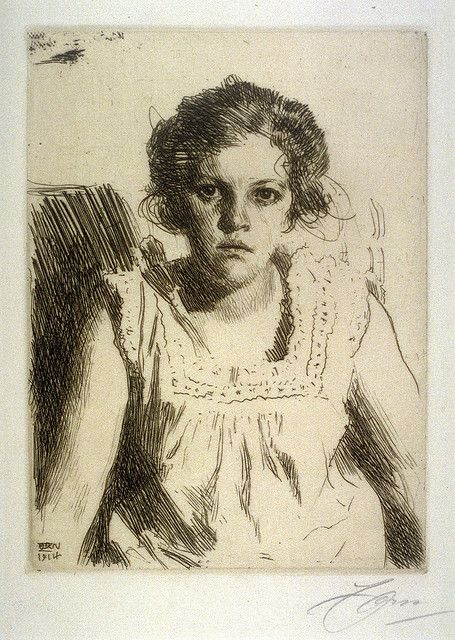 Anders Zorn, etching portrait by deflam, via Flickr