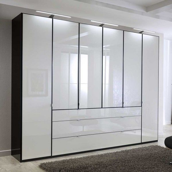 Schlafzimmerschrank Ruamantico in Weiß Glas Schwarz 300 cm ...