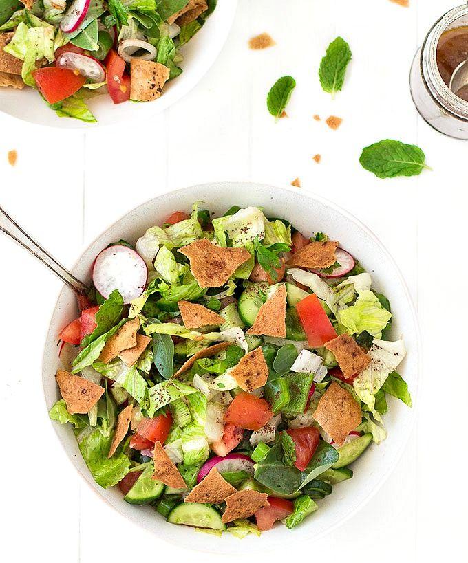 Fattoush Traditional Lebanese Salad Recipe Lebanese Salad Vegetarian Recipes Healthy Salad