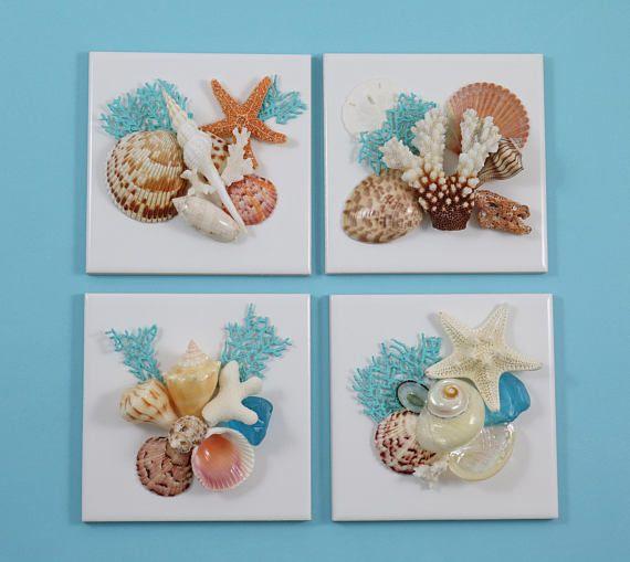 Seashell Wall Decor, Shell Wall Art, Beach Decor, Set of 4 ...