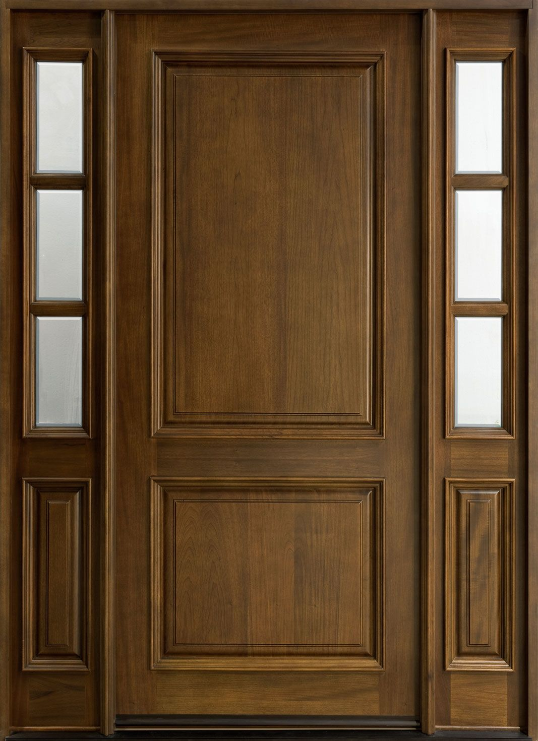 Classic Series Mahogany Solid Wood Front Entry Door   Single With 2  Sidelites