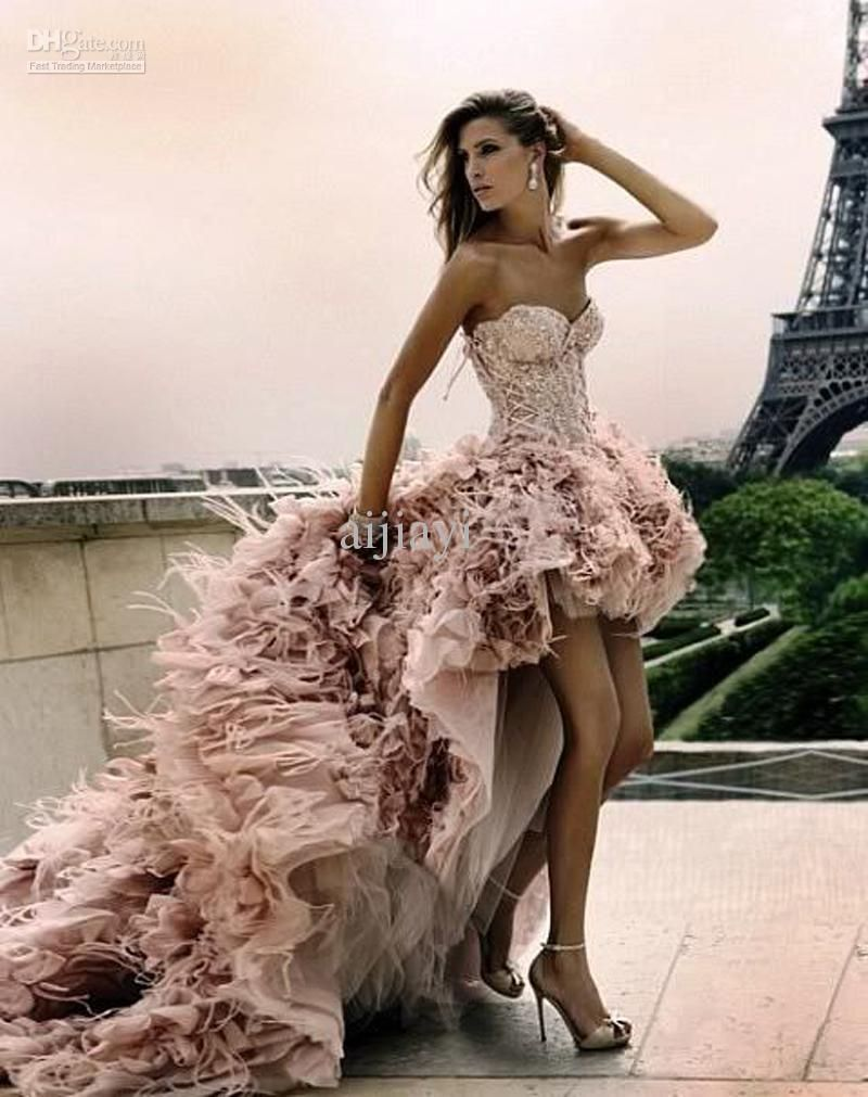Free shipping ostrich feathers prom dress appliqued short front long