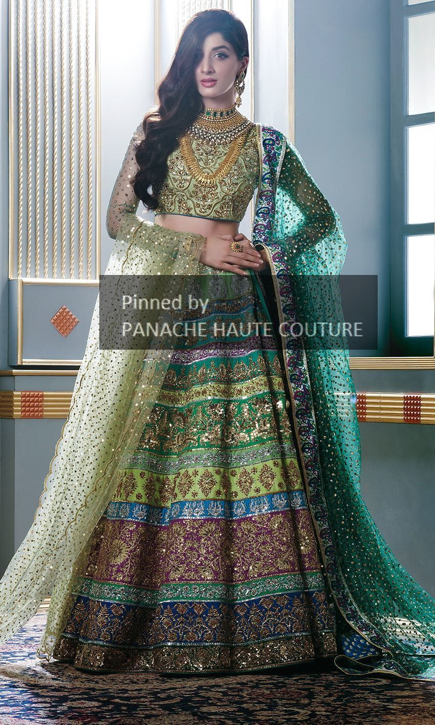 9b996066ef Multicolour Wedding Lehenga with two dupattas. It is in full handwork at  very nominal price.