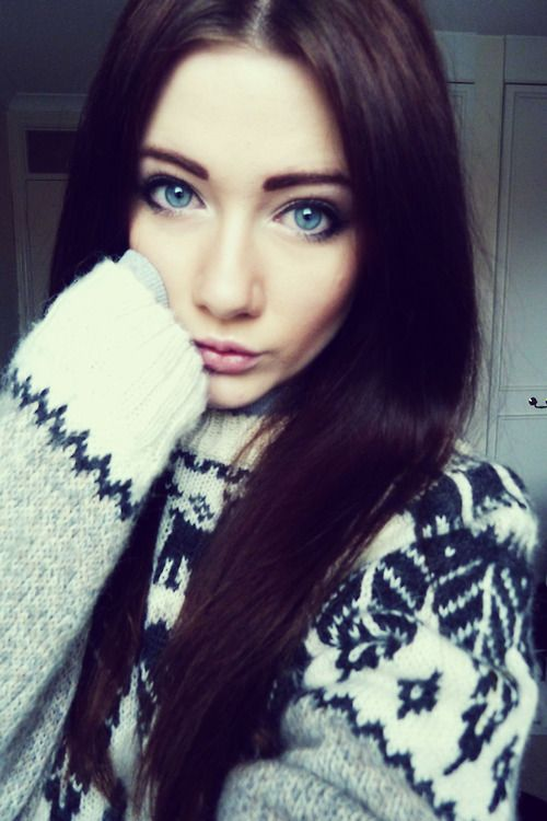 Beautiful girls with brown hair and blue eyes