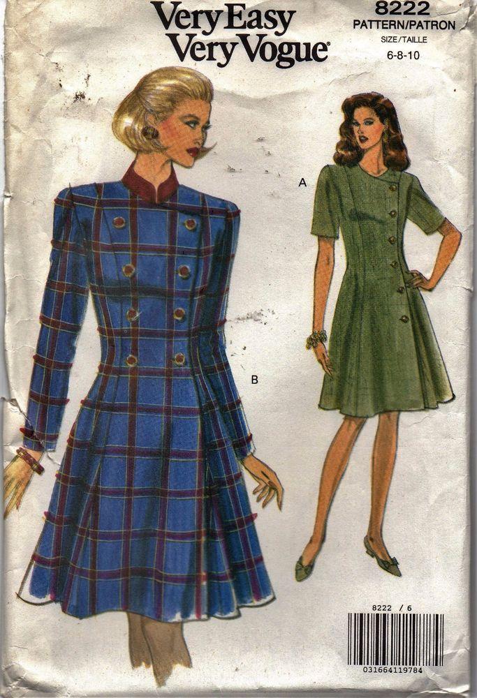 Vogue Sewing Pattern 8222 Dress Fitted Slightly Flared Misses' Size 6-810 Uncut #VoguePatterns #Fittedandslightlyflared