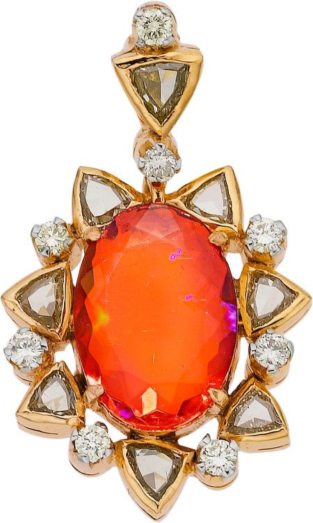 FIRE OPAL, DIAMOND, GOLD PENDANT The pendant features an oval-shaped fire opal weighing approx 2.45 carats, enhanced by triangle-cut brown diamonds weighing a total of approx 0.60 carats, accented by full-cut diamonds weighing a total of approx 0.35 carat, set in 14k gold.
