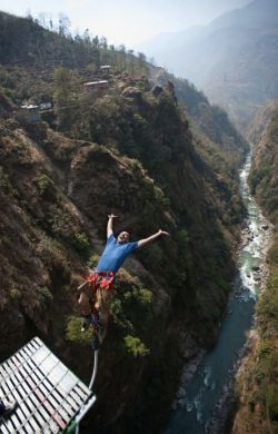 Bungee Jumping in Nepal attracts a wide range of people from different parts of the world, from various age groups. Bungee Jumping at The Last Resort is the deepest gorge jump in Asia, with a height of 524 feet (160 meters) from a suspension bridge that crosses a narrow gorge with a white water river rushing below~