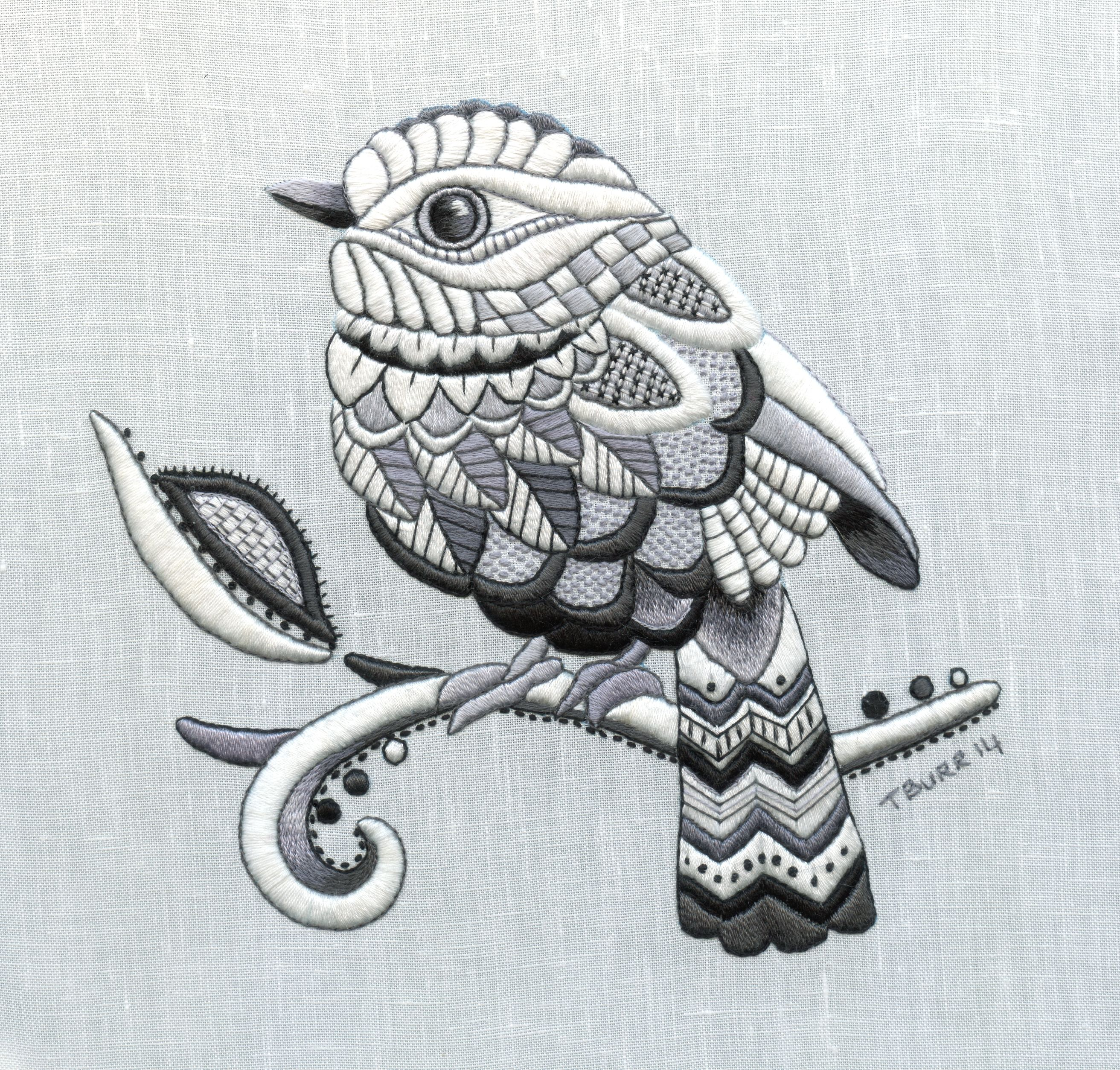 Zentangle Bird whitework embroidery stitched by Trish Burr UWC