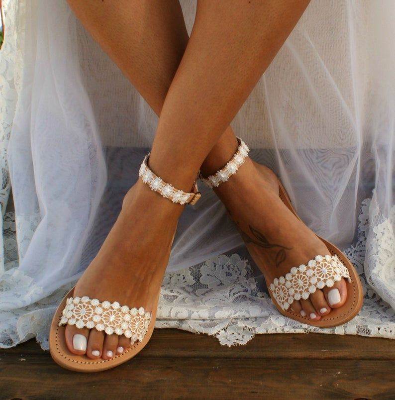 Handmade to order/ ivory lace sandals/ bridal sandals