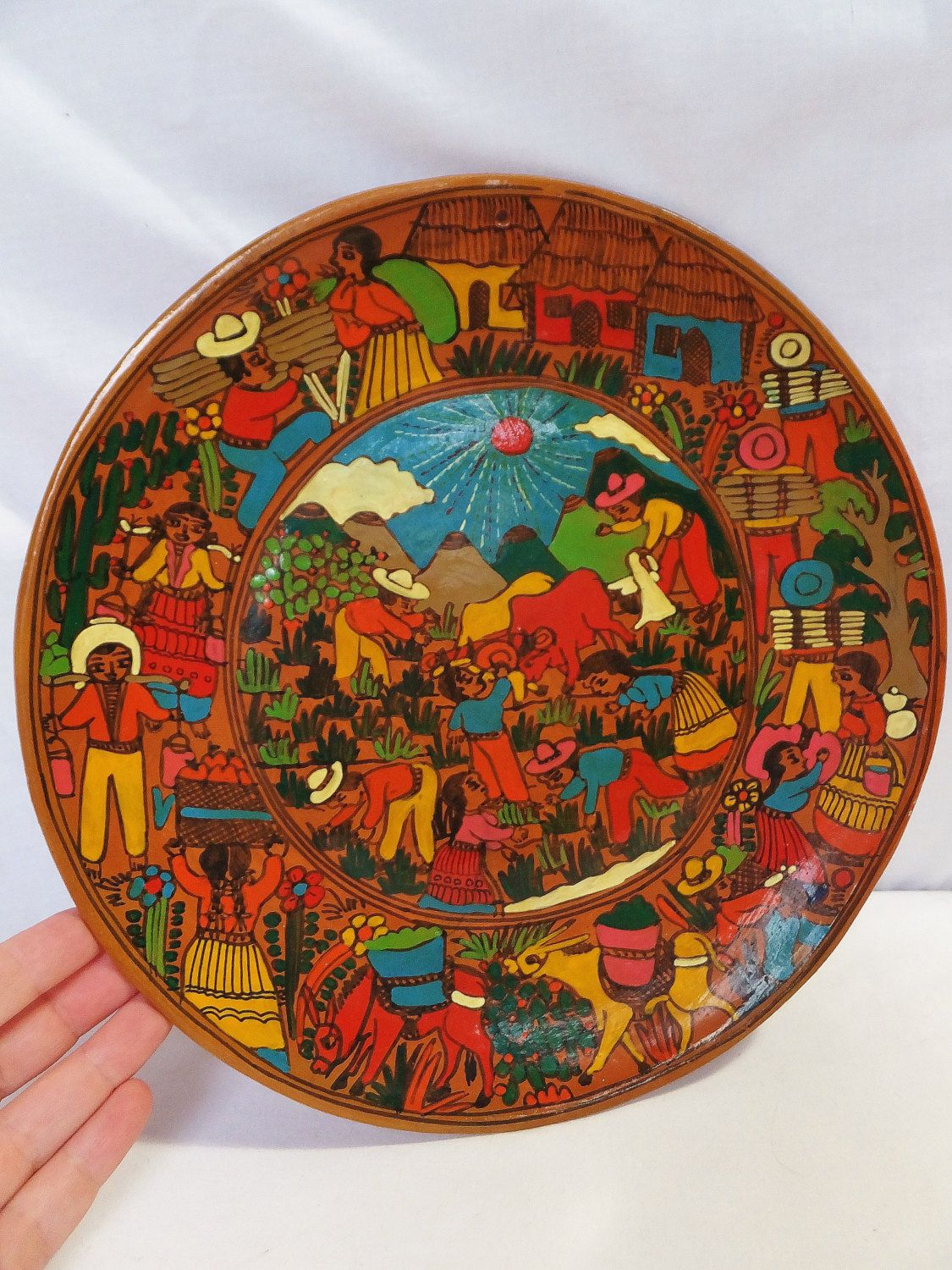 Vintage 1960 39 S Southwest Plate Decorative Ceramic Plate South Of The Border Decor Mexican Decor Mid Century Mex Hand Painted Plates Ceramic Decor Plate Art