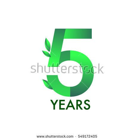 Five Years Anniversary Celebration Logotype With Leaf And Green Colored 5th Birthday Logo On White Birthday Logo Five Year Anniversary Anniversary Celebration