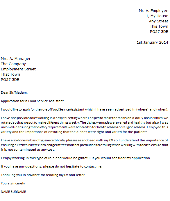 food service assistant cover letter example cover letter