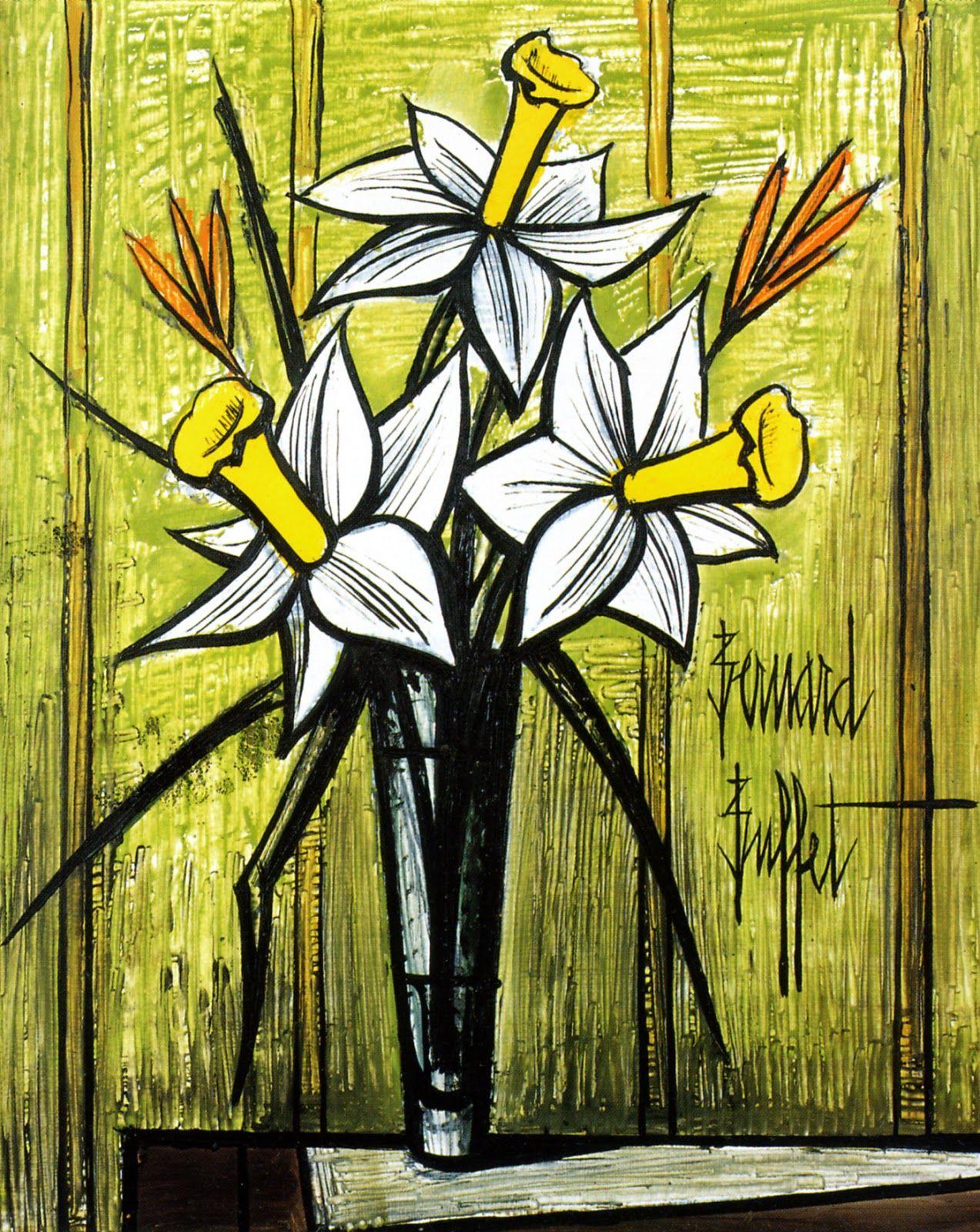 Bernard buffet flowers painting art fleurs pinterest for Buffet bernard
